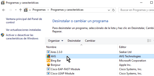 Seleccionando el programa AVG del Panel de control en cómo desinstalar AVG Antivirus Protection en Windows 10