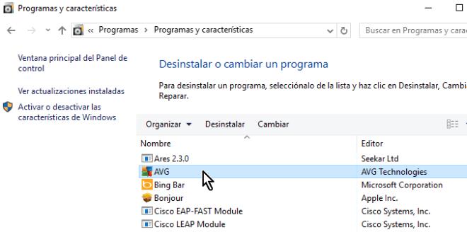 Seleccionando el programa AVG del Panel de control en cómo desinstalar AVG Antivirus Protection en Windows 10
