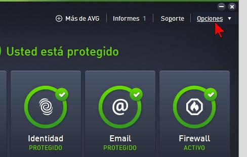 Selecciona Opciones del menú principal en cómo escanear tu PC con el AVG Antivirus Protection Pro manualmente