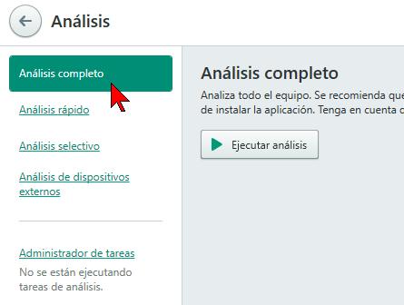 Selección del tipo de análisis en cómo escanear tu PC con el antivirus Kaspersky Total Security 2016