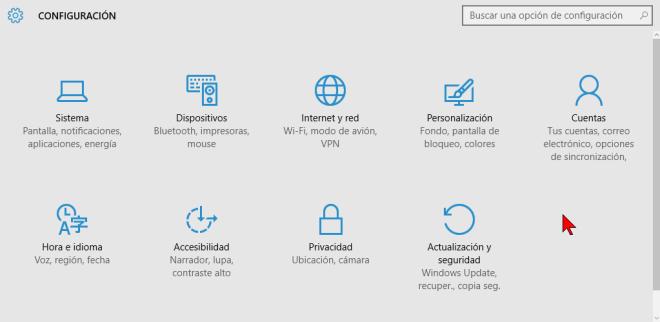Categorías de Configuración en cómo acceder las opciones de Configuración de Windows 10