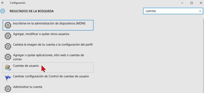 Resultado de búsqueda de opciones de configuración en cómo acceder las opciones de Configuración de Windows 10