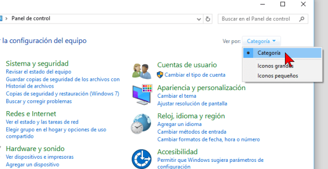 Organizar iconos por categoría en cómo cambiar la visualización del Panel de control en Windows 10