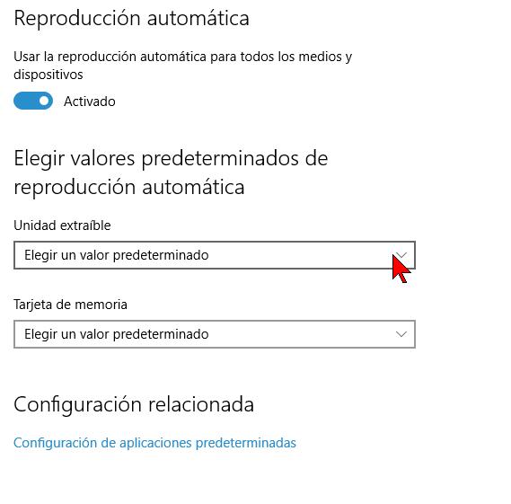 Configuración de la Unidad extraíble en cómo habilitar o deshabilitar la reproducción automática en Windows 10