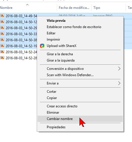 Selecciona Cambiar nombre del menú en cómo renombrar varios archivos a la vez en Windows 10