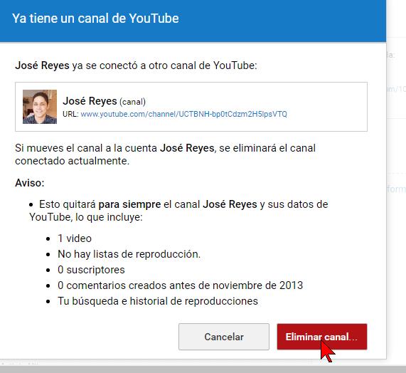 Botón Eliminar canal... en cómo transferir un canal de YouTube a otra cuenta