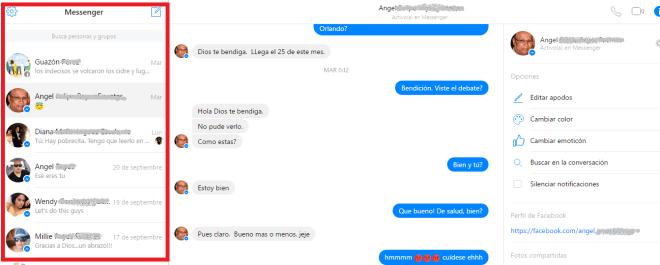 Lista de conversaciones en cómo usar el Messenger de Facebook desde la PC