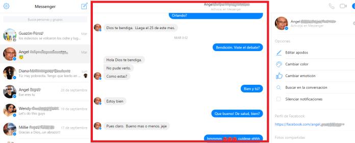 Mensajes enviados y recibidos de una conversación en cómo usar el Messenger de Facebook desde la PC