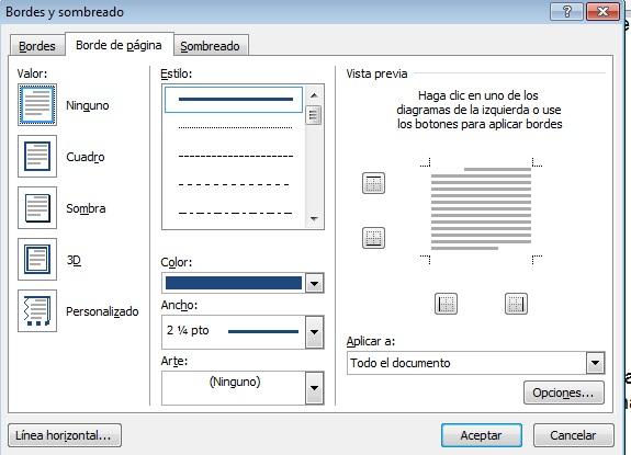 Ventana Bordes y sombreado en cómo colocar un borde a página de Word 2013.