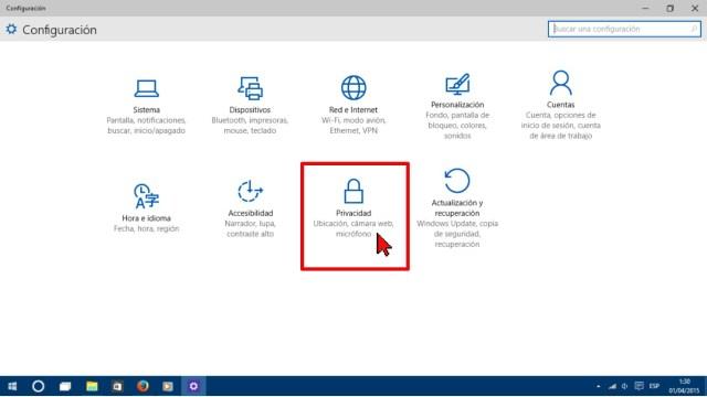 Opción Privaciad en cómo configurar Windows para que no te muestre comentarios