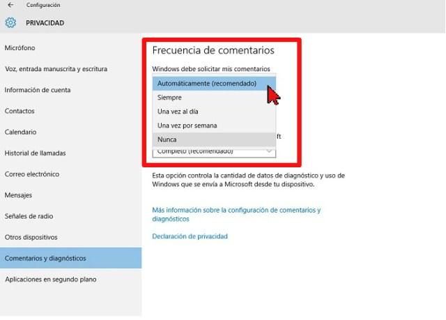 Menú desplegable de Windows debe solicitar mis comentarios en cómo configurar Windows para que no te muestre comentarios