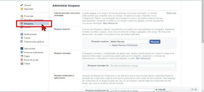 Opción Bloqueos en cómo desbloquear a un amigo en Facebook
