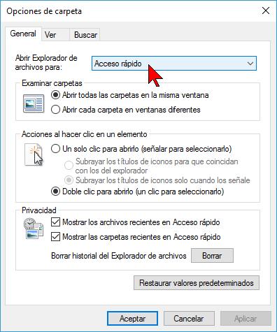 Menú desplegable para Abrir Explorador en cómo deshabilitar Acceso rápido en el Explorador de archivos en Windows 10