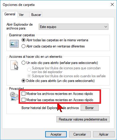 Opciones de privacidad en cómo deshabilitar Acceso rápido en el Explorador de archivos en Windows 10