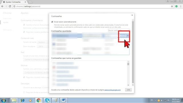 Botón Mostrar en cómo mostrar las contraseñas en Google Chrome
