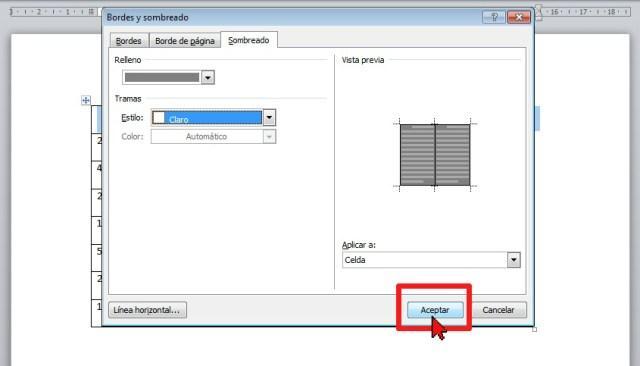 Botón Aceptar en cómo sombrear las celdas de una tabla en Word 2013