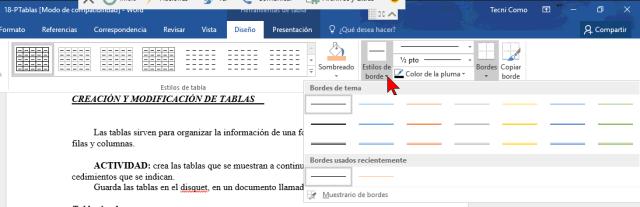 Estilos de borde en cómo añadir o cambiar los bordes de una tabla en Word 2016