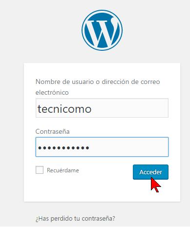 Usuario y contraseña de Administrador en cómo acceder al Panel de Administración de WordPress