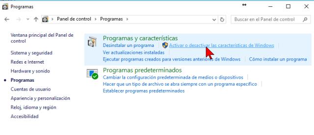 Pantalla Programas en cómo activar o desactivar las características de Windows 10
