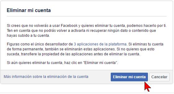 Botón Eliminar mi cuenta en cómo borrar tu cuenta de Facebook