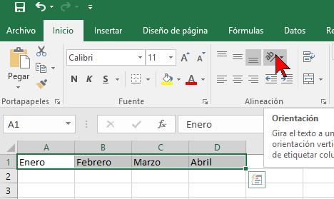 Botón Orientación en cómo cambiar la orientación de las celdas en Excel 2016