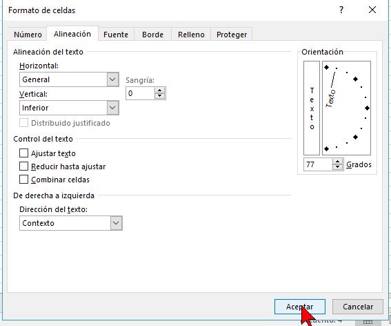 Botón Aceptar en cómo cambiar la orientación de las celdas en Excel 2016
