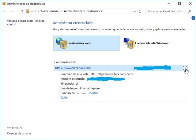Credenciales web en cómo hallar contraseñas usando el Administrador de credenciales de Windows 10