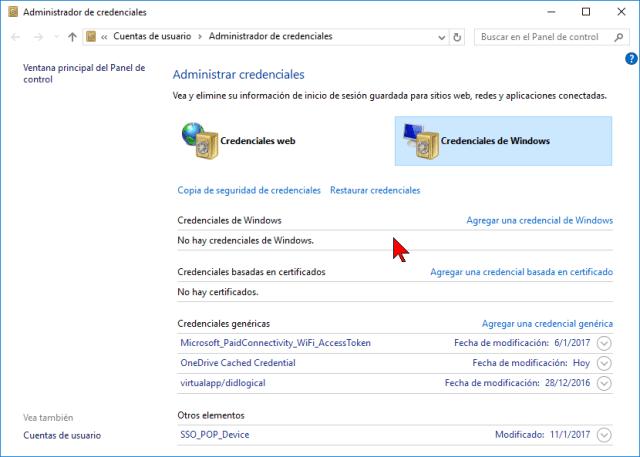 Credenciales de Windows en cómo hallar contraseñas usando el Administrador de credenciales de Windows 10