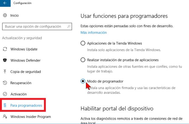Verificando Modo de programador en cómo instalar el Linux Bash Shell en Windows 10