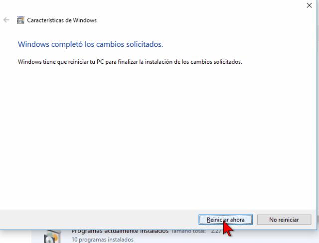 Botón Reiniciar ahora en cómo instalar el Linux Bash Shell en Windows 10