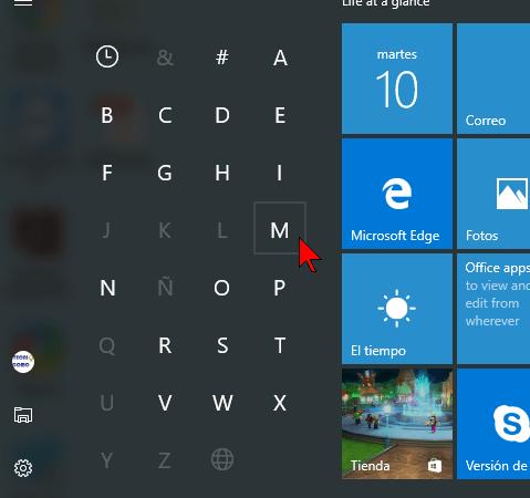 Cómo navegar la lista de aplicaciones de Windows 10 usando las letras