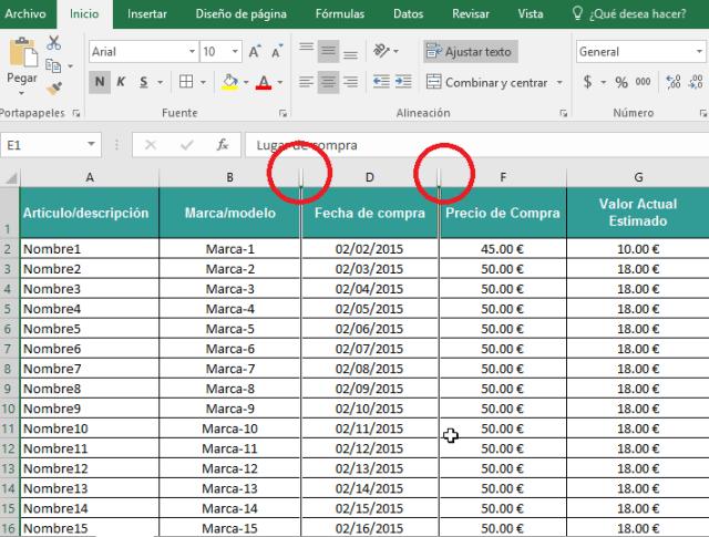 Doble barra entre columnas en cómo ocultar y mostrar columnas en Excel 2016