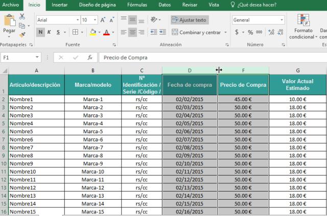 Ubicando cursor entre columnas ocultas en cómo ocultar y mostrar columnas en Excel 2016