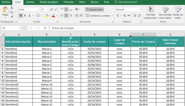 Columnas debidamente mostradas en cómo ocultar y mostrar columnas en Excel 2016