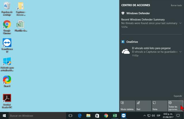 Todas las opciones en cómo personalizar los botones del Centro de acciones en Windows 10