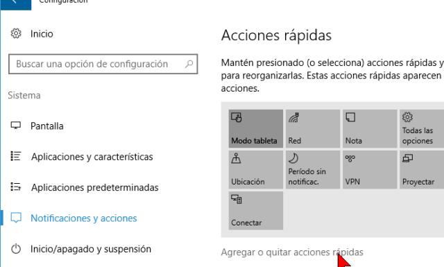 Agregar o quitar acciones rápidas en cómo personalizar los botones del Centro de acciones en Windows 10