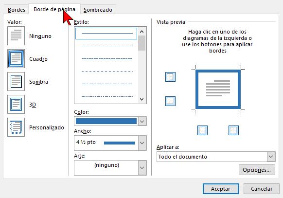 Pestaña Borde de página en cómo ponerle un borde a una página de Word 2016