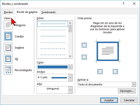 Opciones de Valos en cómo ponerle un borde a una página de Word 2016