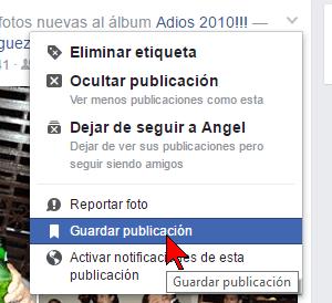 "Guardar publicación en cómo usar ""Un día como hoy"" de Facebook para borrar tu pasado"