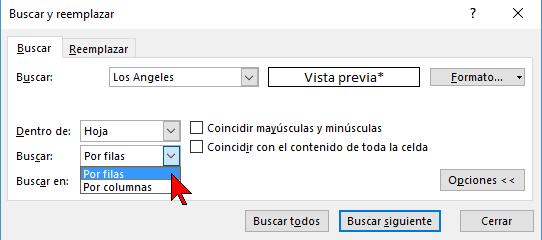 Opciones de buscar Por filas o Por columnas en cómo buscar texto en Excel 2016