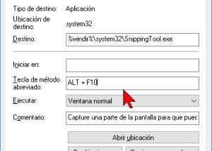 Cómo asignar una tecla de acceso directo para el programa Recortes en Windows 10