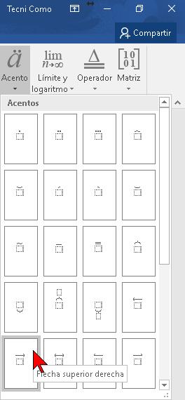 Botón para colocar una Flecha superior derecha en Word 2016
