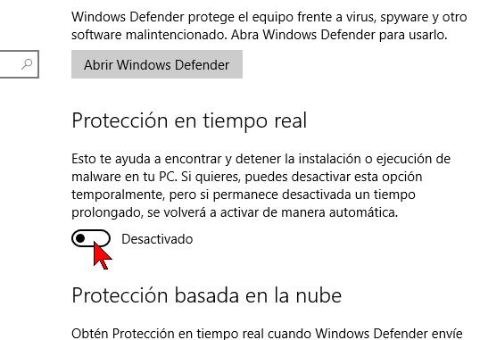 Desactivando Protección en tiempo real
