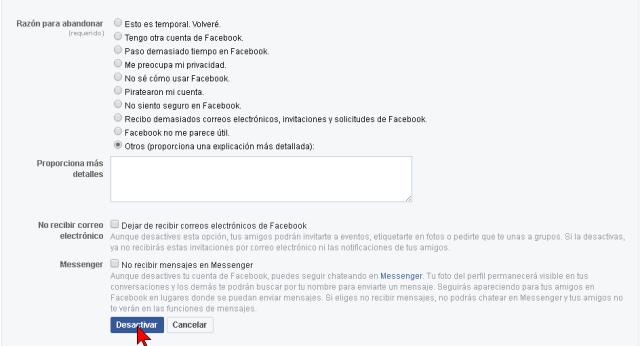 Indicando la razón para desactivar una cuenta de Facebook