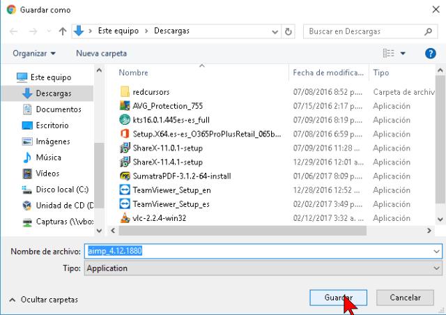 Carpeta para guardar el archivo descargado del reproductor AIMP
