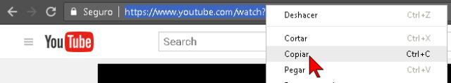 Copiando la URL del vídeo de YouTube a descargar