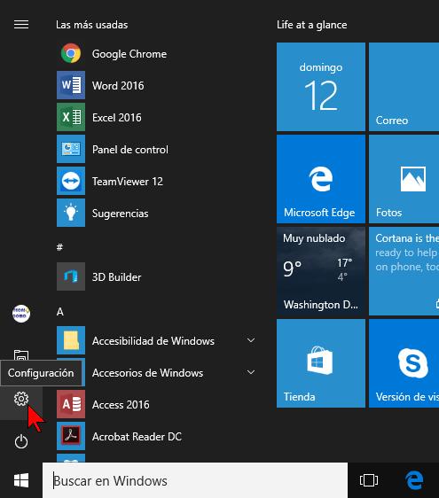Opciones de Configuración en el menú Inicio en cómo deshabilitar las animaciones innecesarias en Windows 10