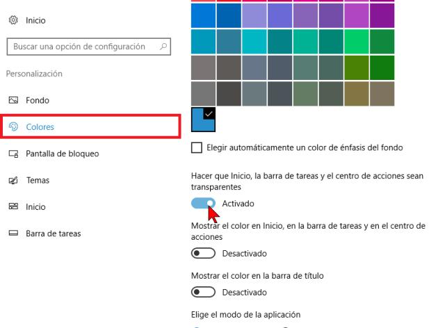 Opciones de colores y transparencia en cómo deshabilitar los efectos de transparencia en Windows 10