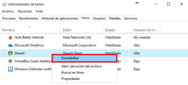 Menú contextual con opciones de deshabilitar en cómo deshabilitar los programas de inicio de Windows 10