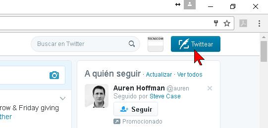 Botón Twittear para componer un tuit en cómo hacer caritas en Twitter desde tu navegador